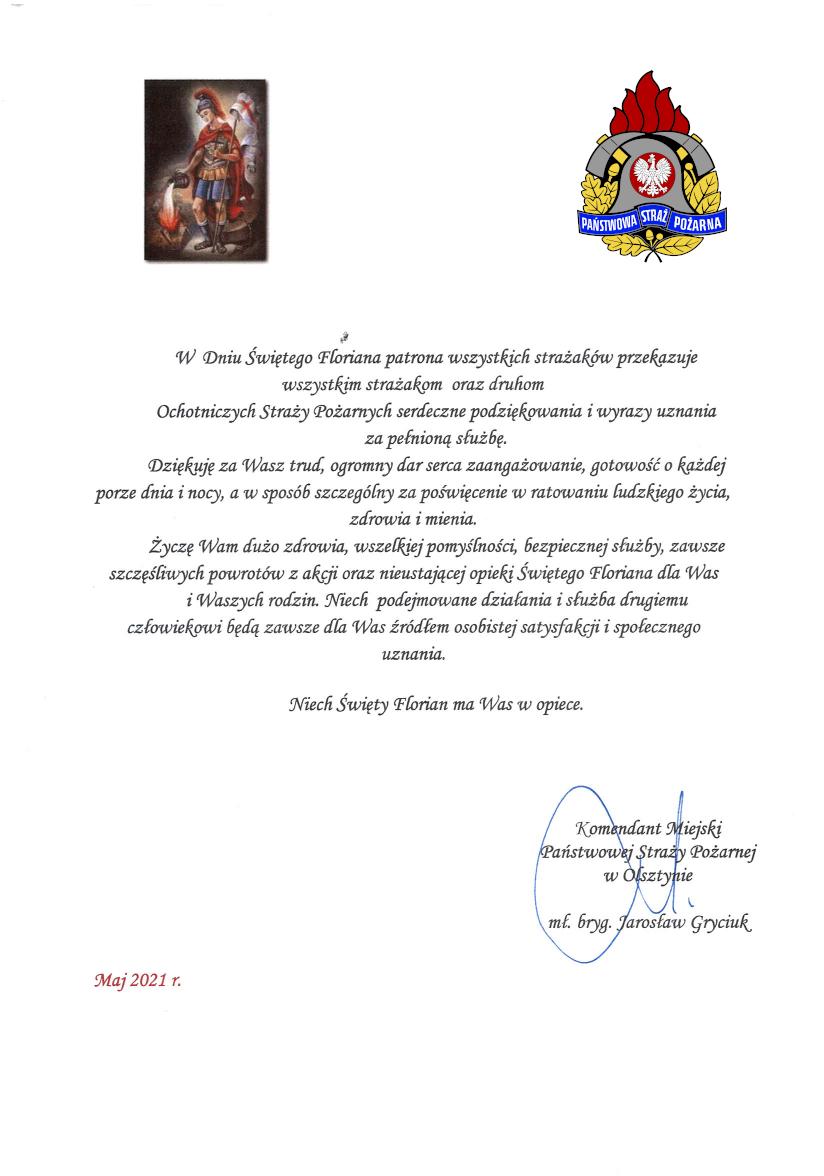 Życzenia Komendanta Miejskiego PSP z okazji Dnia Strażaka